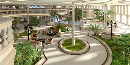 """Oasis area in """"The Streets of Monaco"""" mega-yacht"""