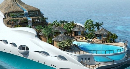 side view of the Tropical Island Paradise themed mega-yacht