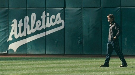 Brad Pitt playing Oakland Atheletics manager Billy Beane in Moneyball