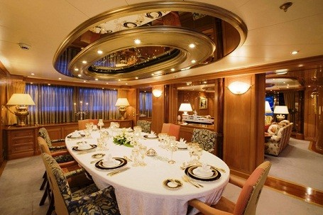Dining room in Dan Snyder's super yacht