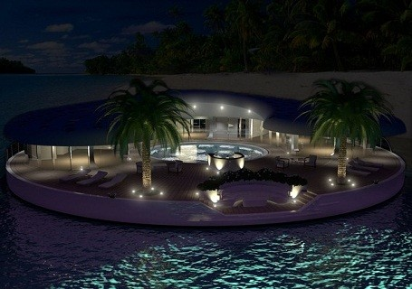 Ome Floating Island at night