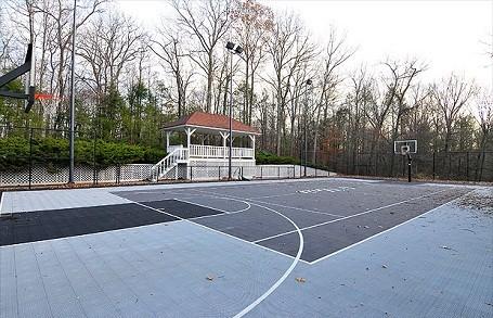 50 Cent's basketball court behind his house in Farmington, Connecticut.
