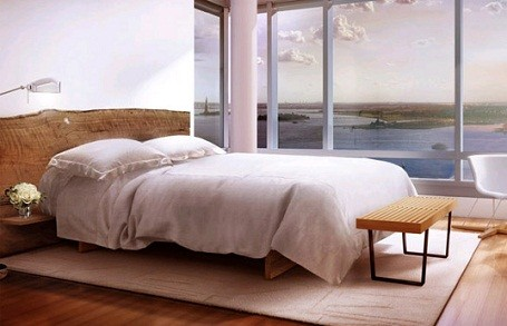Bedroom in the Riverhouse condo where Leonardo DiCaprio lives