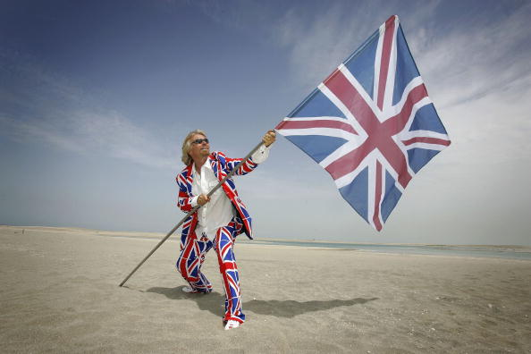 "Sir Richard Branson claiming Great Britain Island, in ""The World"", Dubai."