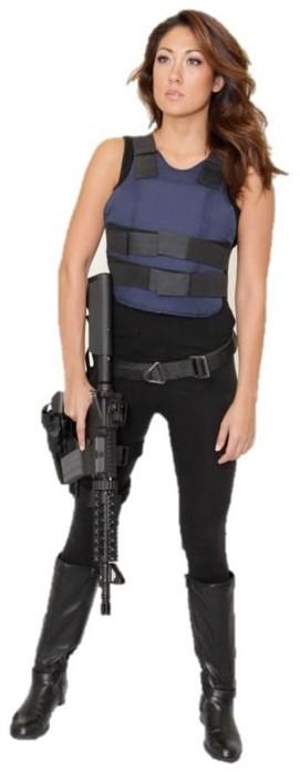 "Spokes model Jeannie Duffy for ""Machine Guns Vegas"" luxury gun lounge."