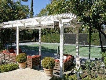 jonah Hill's tennis court behind his home in Tarzana, California