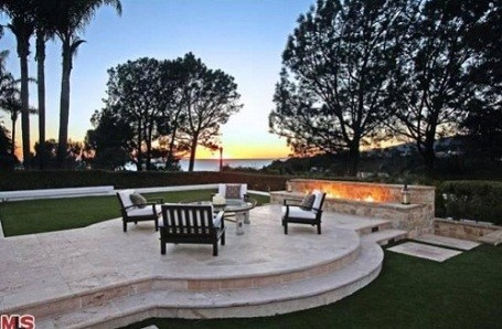One of many fire pits and patios found at Matt Groening's Santa Monica mansion