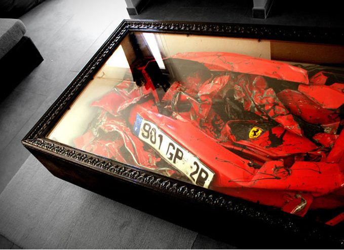 Wrecked Ferrari Recycled into Coffee Table