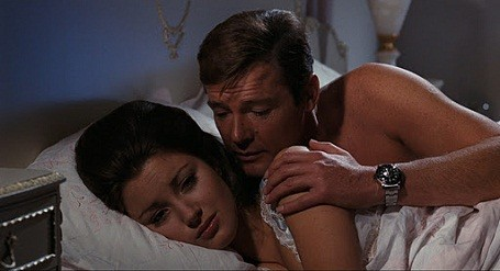 Roger Moore wearing a custom James Bond Rolex Submariner watch.