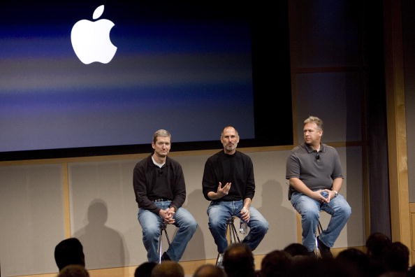 Tim Cook, Chief Operating Officer, Apple CEO Steve Jobs and Phil Schiller, EVP Product Marketing