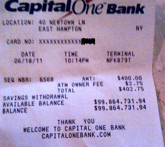 David Tepper ATM Receipt