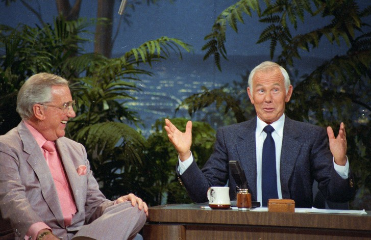 File photo of Johnny Carson with co-host Ed McMahon during the Tonight Show in California