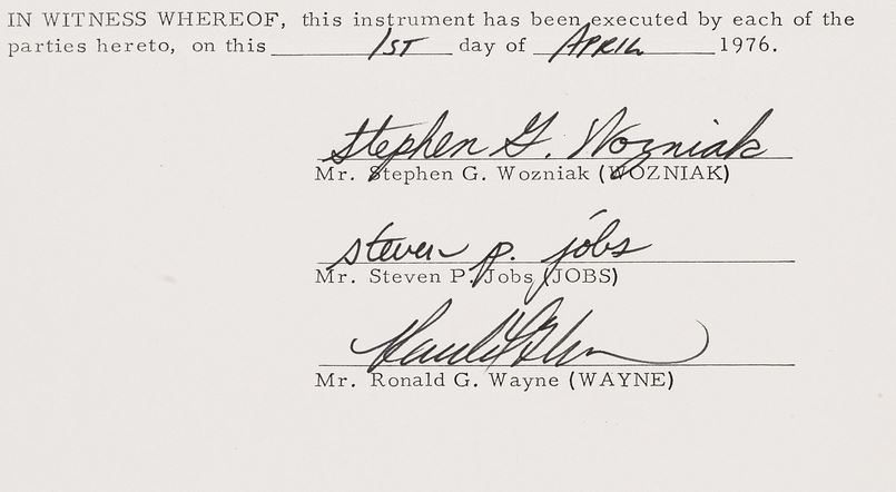 Original Apple Contract