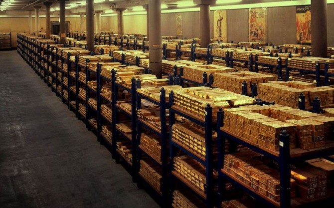 Gold Bars in a Vault