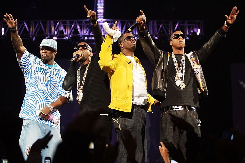 Rappers 50 Cent, Kanye West, P. Diddy, and Jay Z