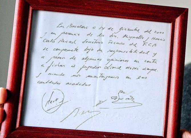 Lionel Messi Napkin Contract