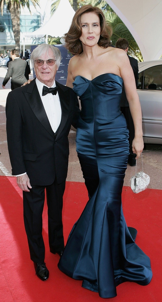 ESTORIL, PORTUGAL - MAY 16: Formula One chief Bernie Ecclestone and wife Slavica arrive at the Laureus World Sports Awards on May 16, 2005 at the Estoril Casino, Estoril, Portugal. (Photo by MJ Kim/Getty Images for Laureus)