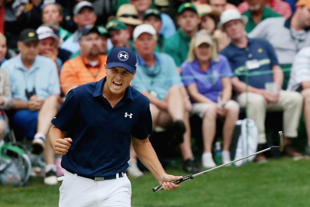AUGUSTA, GA - APRIL 12: Jordan Spieth of the United States reacts to a par-saving putt on the 16th green during the final round of the 2015 Masters Tournament at Augusta National Golf Club on April 12, 2015 in Augusta, Georgia. (Photo by Andrew Redington/Getty Images)