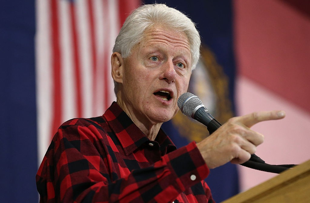 "MILFORD, NH - FEBRUARY 07: Former U.S. President Bill Clinton campaigns for his wife, Democratic presidential candidate Hillary Clinton, during a campaign event at Milford Junior High School February 7, 2016 in Milford, New Hampshire. New Hampshire holds the ""first in the nation"" primary on February 9. (Photo by Win McNamee/Getty Images)"